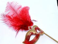 Red & Gold Feather Mask on a Stick